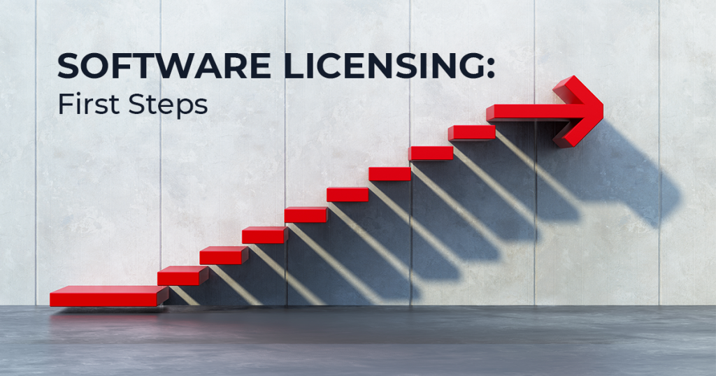 Software Licensing First Steps image with stairs ending with an arrow