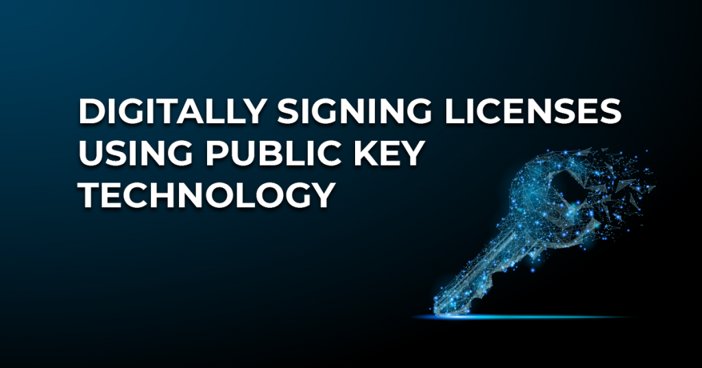 Digitally signing licenses using public key technology