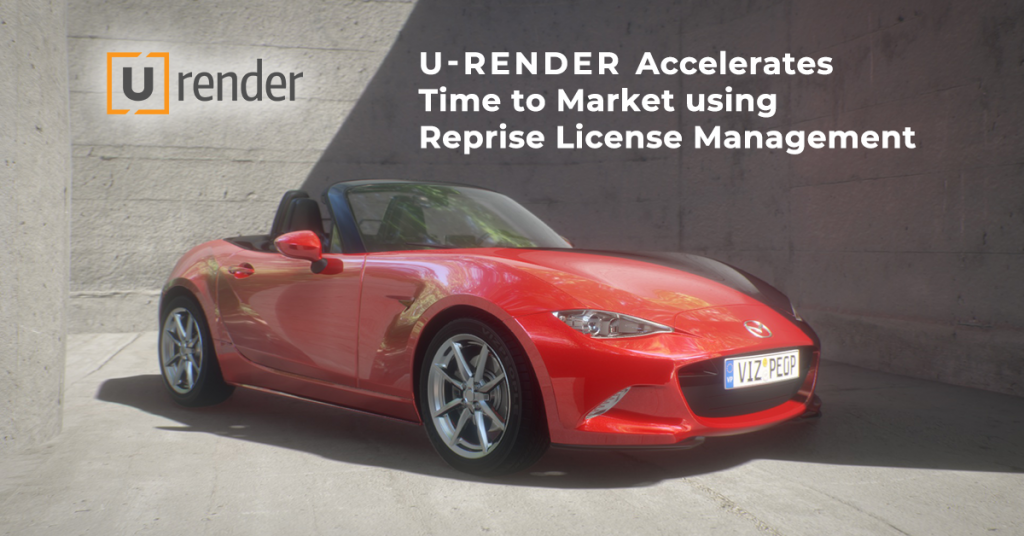 U-RENDER logo over their rendering of a red sportscar